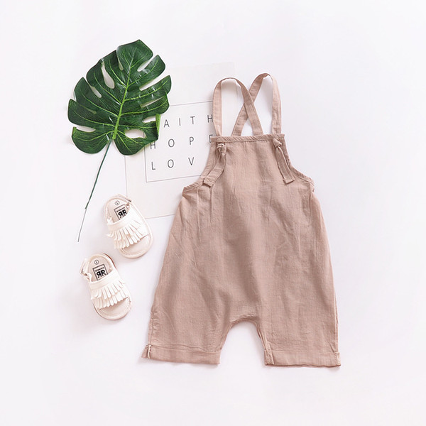 2019 Summer New Style Baby Girl Boy Suspender Rompers Infant Kid Jumpsuit Soft Linen Clothes Overalls Children Thin Clothing