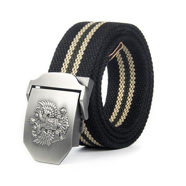 Regalo nero della vita unisex Canvas Belt Russian National Emblem fibbia Tactical Belt Nylon Uomini Per pantaloni lunghi
