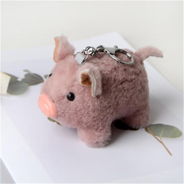 Cute Real Genuine Sheep Fur Pig Toy Doll Pompom Ball Bag Charm Key Chain Keyring Accessories Phone Purse Handbag