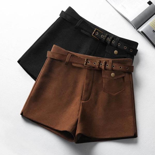Suede Shorts Women Fashion Elegant Short Mujer High Waist Shorts Light Tan Black Autumn Winter Slim Wide Leg Women C5182