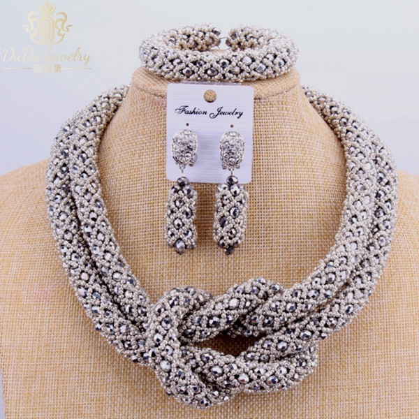 2017 Copper Fine Set Silver Dubai Choker Necklace 2 Layers Nigerian Wedding African Beads Jewelry Sets Fashion C18122701