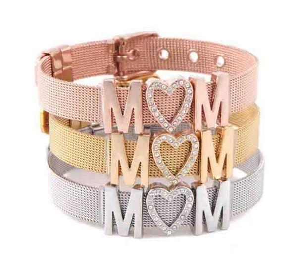 2019 Hot Sale Stainless Steel Cuff Bangle Keeper Bracelet Rhinestone Mesh Belt Bracelet Adjustable MOM Letter Charm Mother's Day Gift