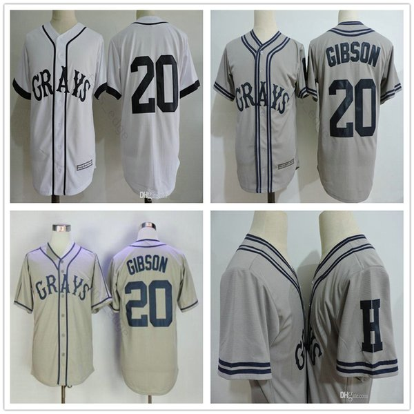 The Movie USA Negro Leagues NLBM Homestead Grays # 20 Josh Gibson Jersey Cucita Greys Film Bianco Grigio Mens Maglie da baseball S-XXXL