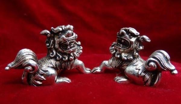 NEW++SCY China Buddhism Brass FengShui Foo Fu Dog Lion Ball Bronze Statue Pair (A0314)