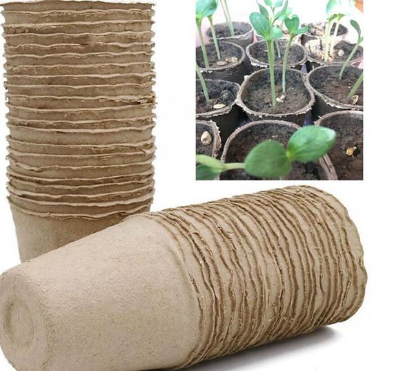 best selling 8*8cm Garden Plant Nursery Pulp Pots Biodegradable Seedling Raising Cups Biodegradable Flower Tray Raising Cups 2000pcs LJJK2021