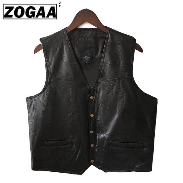 Mens Waistcoat Black Biker Vest Genuine Leather Motorcycle Rock Sleeveless Jacket Male Autumn Plus Size Clothing 4XL For Men