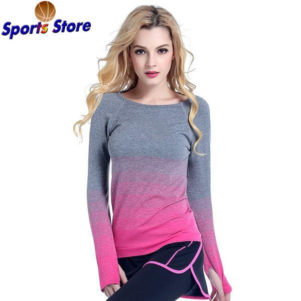 Women Professional Yoga Shirts QuickDry Sleeves Shirt Fitness Sport Gradient T-shirt Elastic Long Hygroscopic Top T Women