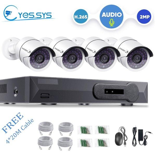 eyes.sys 4CH 5.0MP NET POE NVR CCTV-Kamerasystem 4 * 1080P Dome-Audio-IP-Kamera mit Mikrofon Sound Security Surveillance Kit
