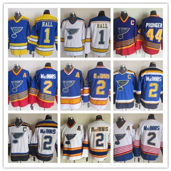 St. Louis Blues Vintage Classic 2 Al MacInnis Hellblau Weiß Herren 44 Chris Pronger 1 Glenn Hall Eishockey-Jersey