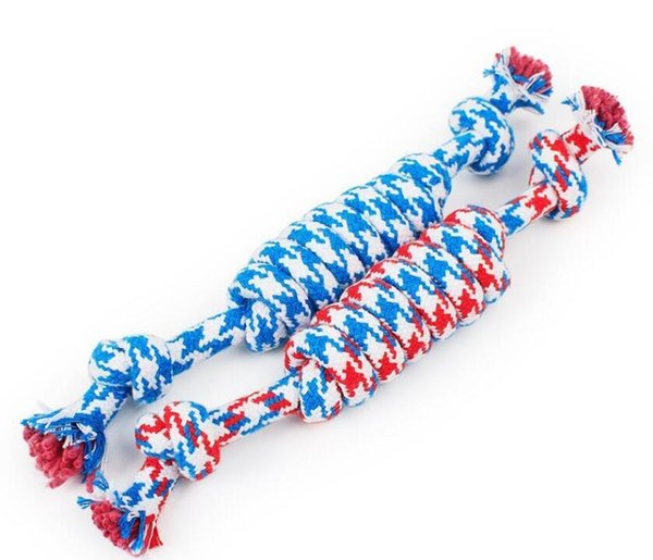 best selling Dog Rope Fun Pet Chew Knot Toy Cotton Stripe Rope Dog Toy Durable High Quality Dog Accessories Wholesale DHL Free