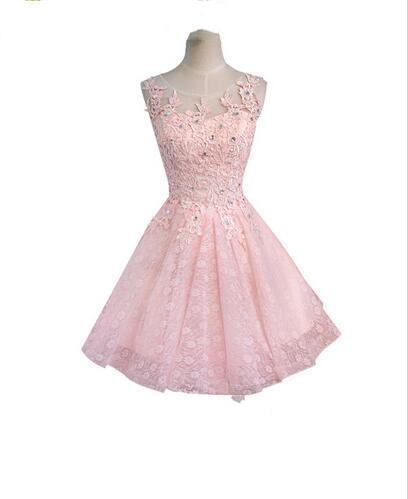 Sweet Cocktail Dresses 2019 New Bride Married Banquet Pink Lace Short Prom Dress Plus Size Party Formal Dresses 494
