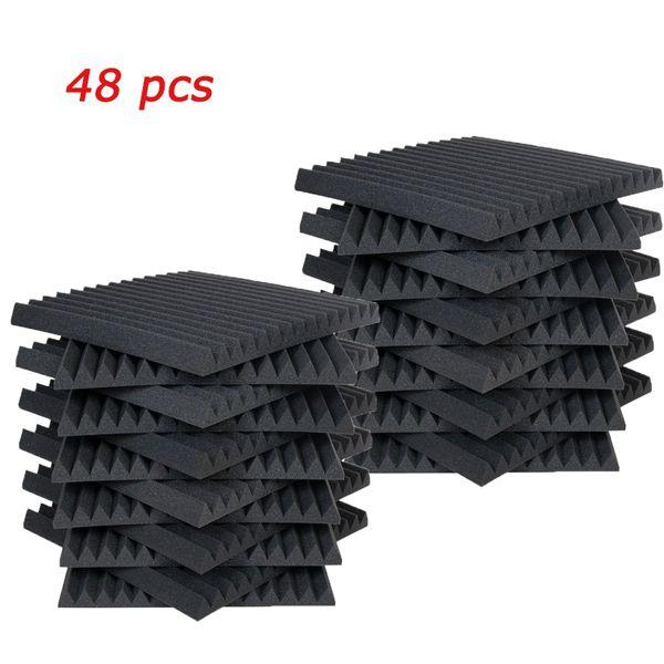 "top popular 48 PCS Acoustic Panels Studio Soundproofing Foam Wedge 1"" X 12"" X 12"" 2021"