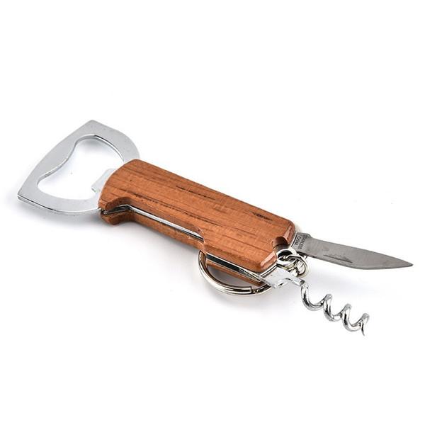 Wooden Handle Opener Creative Keychain Beer Opener Stainless Steel Multifunctional Red Wine Bottle Opener Key Chians