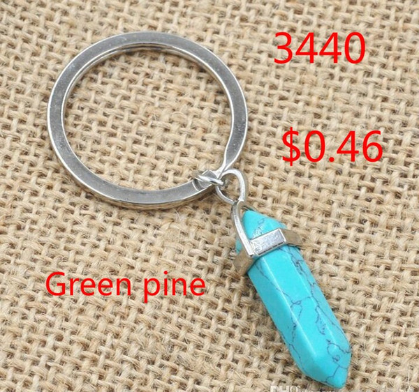 top popular 5 colors Hexagon Prism Natural Stone Pendant Key Rings Point Chakra Healing Bullet Shape Crystal Keychain Jewelry for women men 2020
