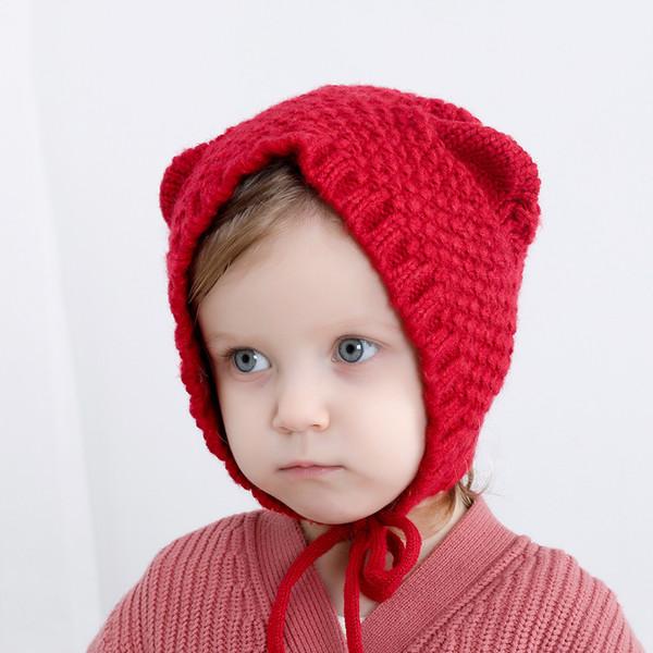 Automne Hiver bébé tricotées Mignon Chat oreilles enfants Bonnet filles garçons chaud Couvre-chef Bonnets Earmuffs enfants Hat M233