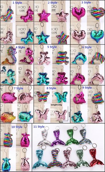 Cute fruit Keychain Glitter Sequins Key Chain car Bag Key Ring star Keychains mermaid Key Chain stars bear fish tail cat pendant