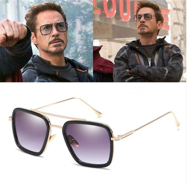 Avenger's Infinity War Tony Strong Lunettes de soleil Iron Man Rectangle Verre Vintage Transparent Trendy Lunettes de soleil Gothiques Oculos