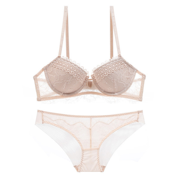 Sexy lace embroidered underwear set on the bra chest gathered bra set