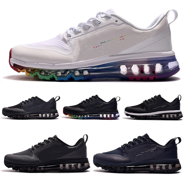 Best Cushioned Running Shoes 2020.High Quality 2020 Mens Running Shoes Pu Black Rainbow Bengal Triple White Navy Blue Man Trainers Cushion Chaussures Sports Sneakers 40 46 Spikes Shoes