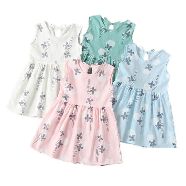 Kids Girls Printed Dress Baby Designer Clothes Girls Sleeveless Princess Dress Pastoral Four Leaf Printed Skirt 19