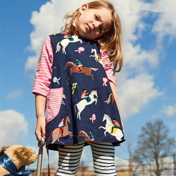 Pocket Striped Floral Animal Kids Girls Dress Children Girls Knee-length A-line Cotton Baby Girls Dress Designer Unicorn Children Outfits