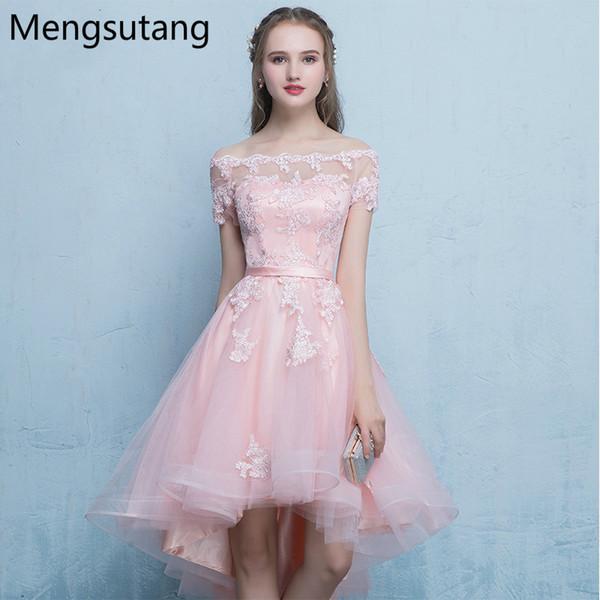 Robe de soiree Элегантное розовое вечернее платье с вырезом в форме лодочки и кружевами, вечернее платье с аппликациями.