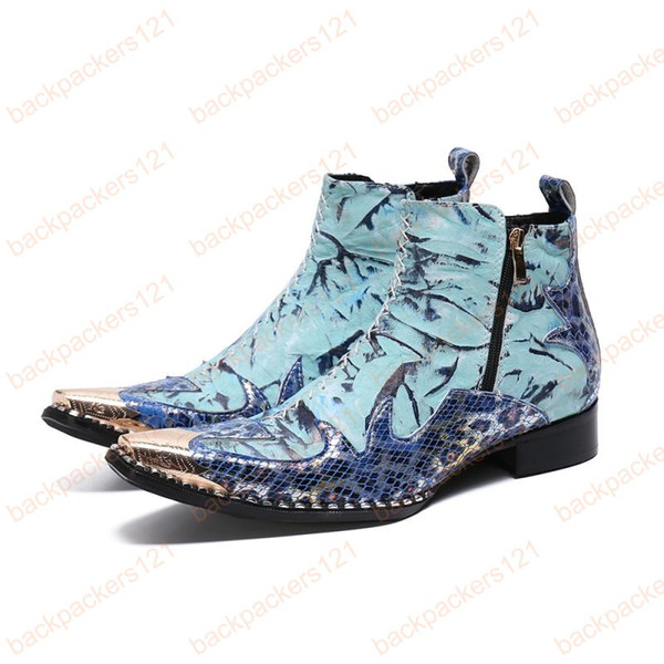 Fashion Trend Ankle Men Boots Printing Leather Casual Party Shoes Men's Work Show Short Boots Big yards