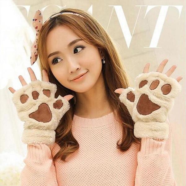 2019 New Listing 1 Pair of Winter Warm Gloves Women Lady Gloves Fingerless Fluffy Bear Cat Plush Half Finger Cosplay