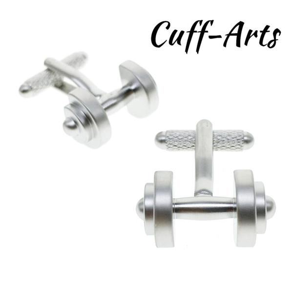 Cuffarts 1 Pair Satin silver dumbbell Cufflinks C10003
