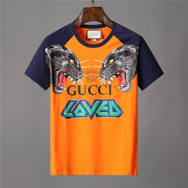 2019 Marka giyim erkekler turuncu T-shirt mektup hayvan kurt baskı tshirt sevilen patchwork kollu Tee Casual kadın pamuklu tshirt t gömlek Üst