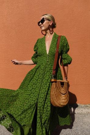Mode Poète Manches Longues Full Lace Party Dress Hunter Vert Deep V Cou A-ligne Femmes Casual Dress Vintage Fille Maxi Robe De Cocktail 1748