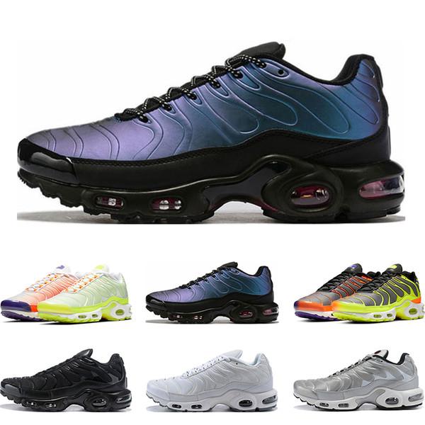running shoes super popular 50% off Acheter Nike Air Vapormax Tn Plus Supérieure Pour Les Hommes Triple Blanc  Noir Volt Couleur Flip HYPER CRIMSON Mode Sport Athlétiques Baskets Taille  ...
