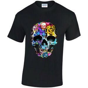 Painted Graffiti Skull Cool Mens T-Shirt