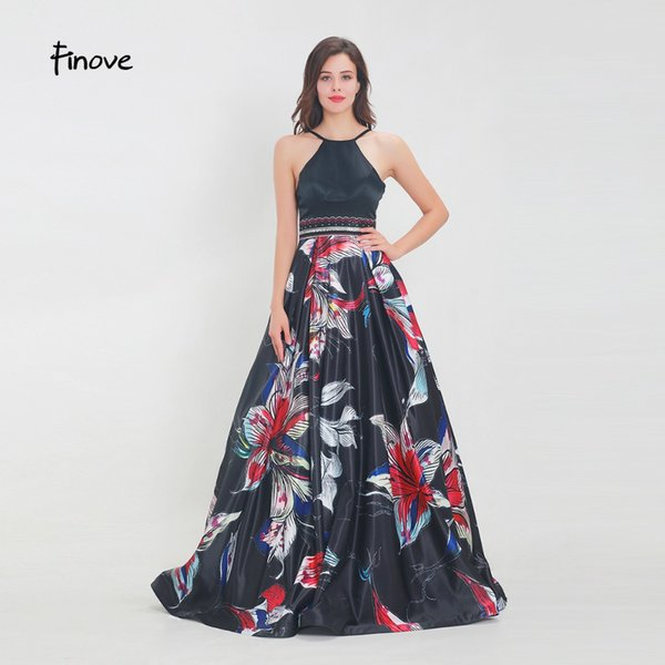 vente en gros robe de bal 2019 longue nouvelle sexy licol une ligne perlée motif floral dos nu formelle parti femme robes robe de fête