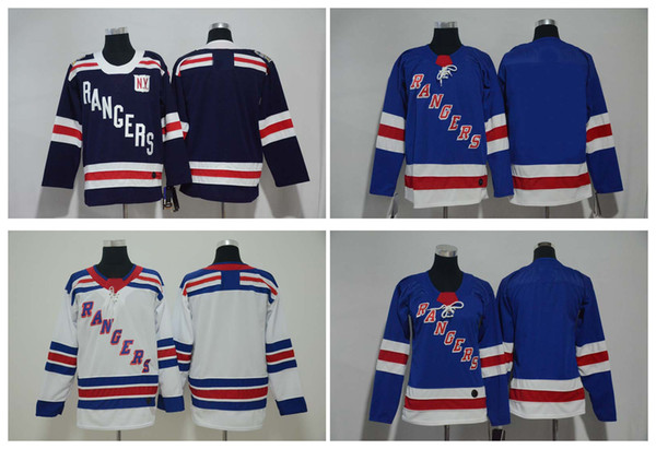 2019 Winter Classic New York Rangers Jersey Mens Kids Women's Blank No Name Number White Blue Stitched Hockey Jersey