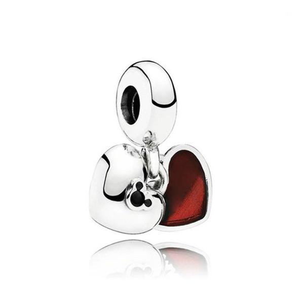 S925 Sterling Silver Chimi e gioielli Nimi doppio cuore pendenti di modo di DIY per la collana Pandora Natale trasporto libero delle donne