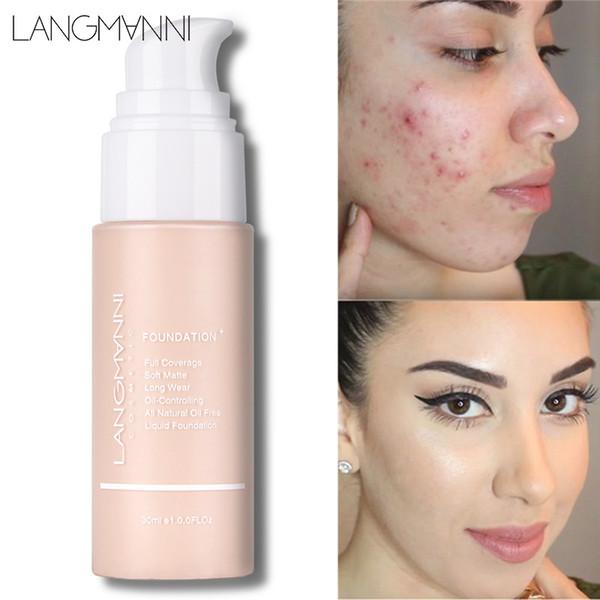 Langmanni Soft Matte Liquid Foundation 30ml Corrector de control de aceite 13Colors Primer Base Contour Palette Professional Face Makeup Foundation