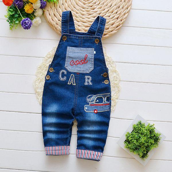 Aautumn baby pants infant boy denim overalls newborn boys cartoon car bib pants children boys trousers kids strap pants