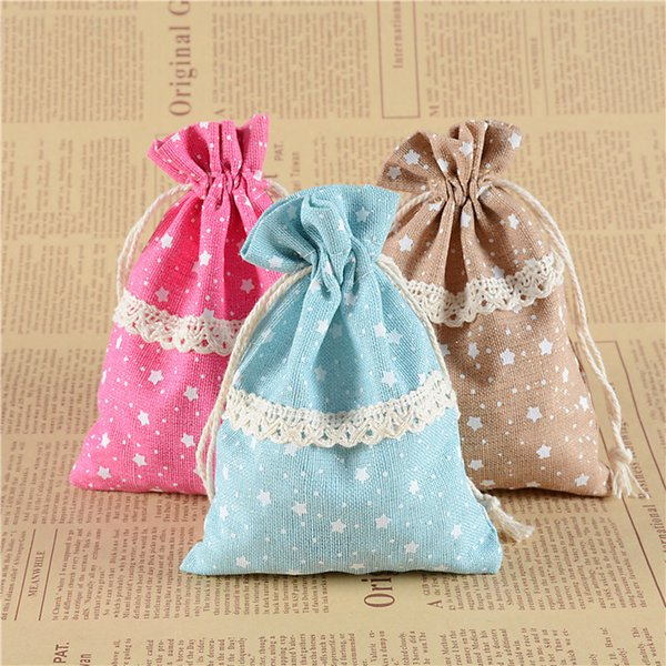 10x14cm Little Star Pattern Drawstring Bags with Lace Jewelry Pouches Bag Gifts Bag Wedding Christmas Party Favors Packing Sack Pouch