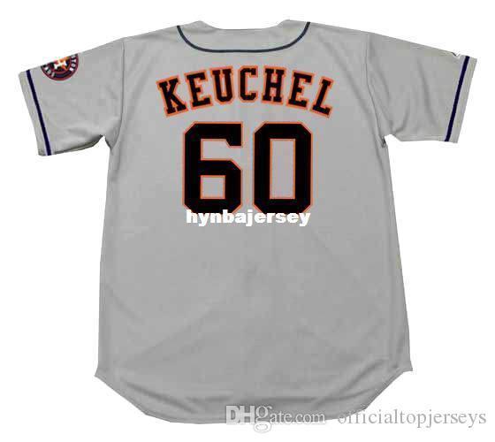 Barato Personalizado DALLAS KEUCHEL Houston Costurado Majestoso Afastado Camisola de Beisebol Retro Mens Jerseys Correndo