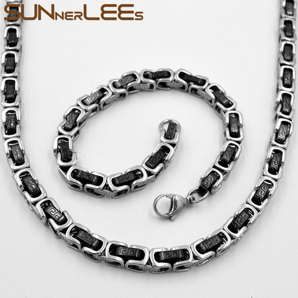 SUNNERLEES Fashion Jewelry Stainless Steel Necklace Bracelet Set 7mm Byzantine Link Chain Silver Gold Black Men Women SC141 S