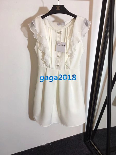 women girls shirt dress crew neck crystal buttons lace ruffle short sleeve vintage a-line pleated mini skirts high-end custom luxury dresses