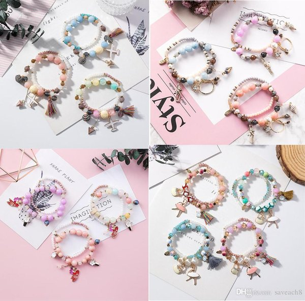 MiXED STYLE Fashion Women's Double Layer Beaded Bracelet Natural Stone Sweet Cute Crystal Beads Charms Bracelets Jewelry for Women Girl
