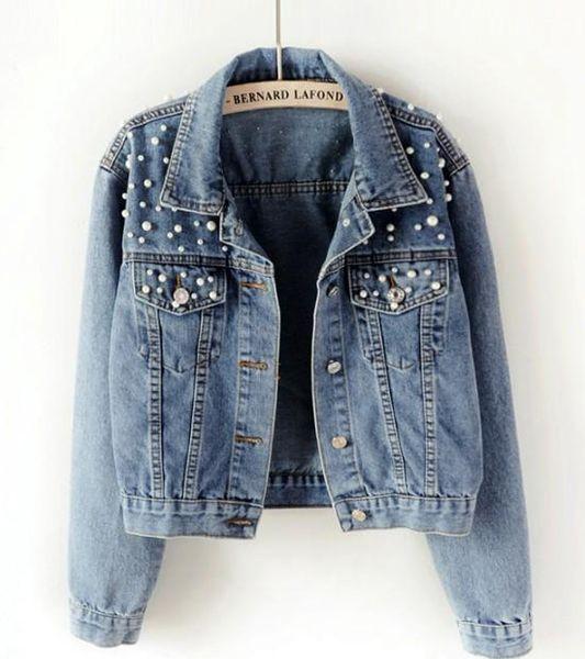 Women Denim Jacket Pearls Beading Fashion Jeans Coat Loose Long Sleeve Jackets Spring Autumn Women Basic Coats