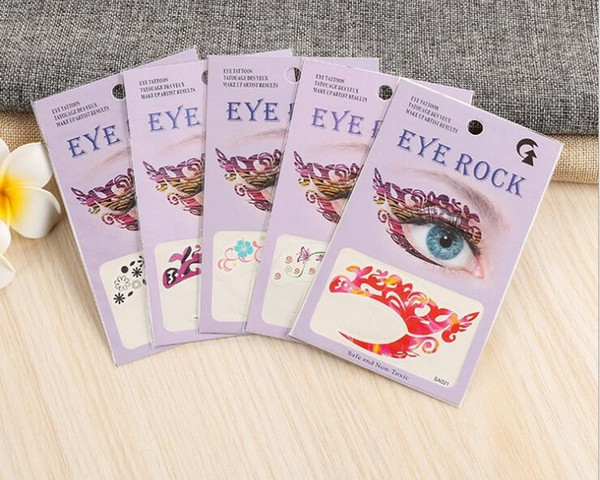 300pcs fashion Crazy Temporary Tattoo Stickers girls party Instant Eye Shadow Sticker Colourful Eye rock X129