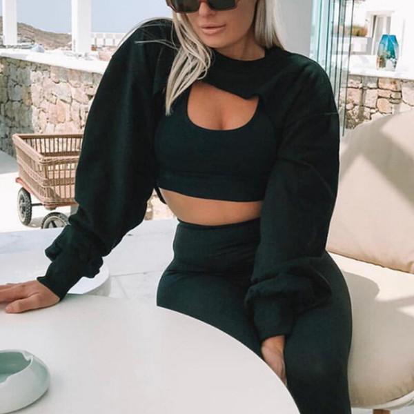 Kısa Tişörtü Kadın Sonbahar Uzun Kollu Siyah Beyaz Kazak Moda Kırpma Üst Ceket Jumper Kazak Tops