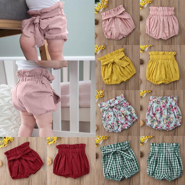 1-6Y PP Pantolon Marka Yeni Yürüyor Bebek Kız Erkek Yaz Rahat Şort Elastik Yüksek Bel Katı Ekose Çiçek Baskı