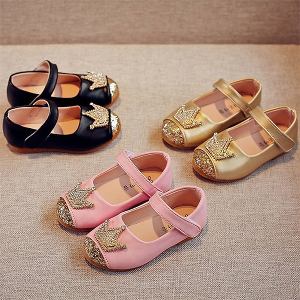 Girls shoes Crown Princess Shoes Gold Crystal Party For Baby Kids Children Flats Girls Dress MCH108