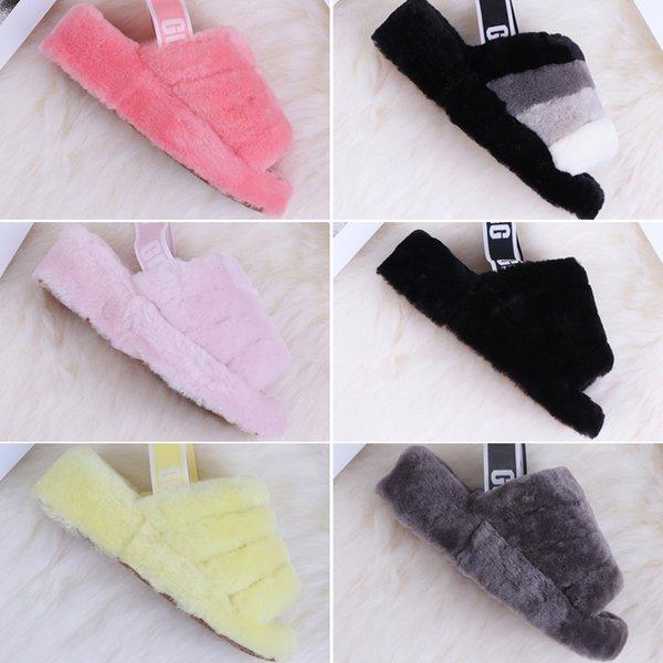 Com Box 2019 New Women Austrália Fluff yeah Furry Botas corrediça desenhador de moda Sandálias de pele Slides Chinelos Slides