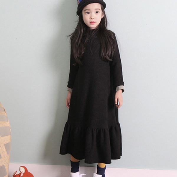 Otoño caliente vestido de invierno de las muchachas de terciopelo flojo largo vestido de partido de los niños Grueso Negro 2018 de la princesa Vestidos Maxi niños grandes de ropa T191006